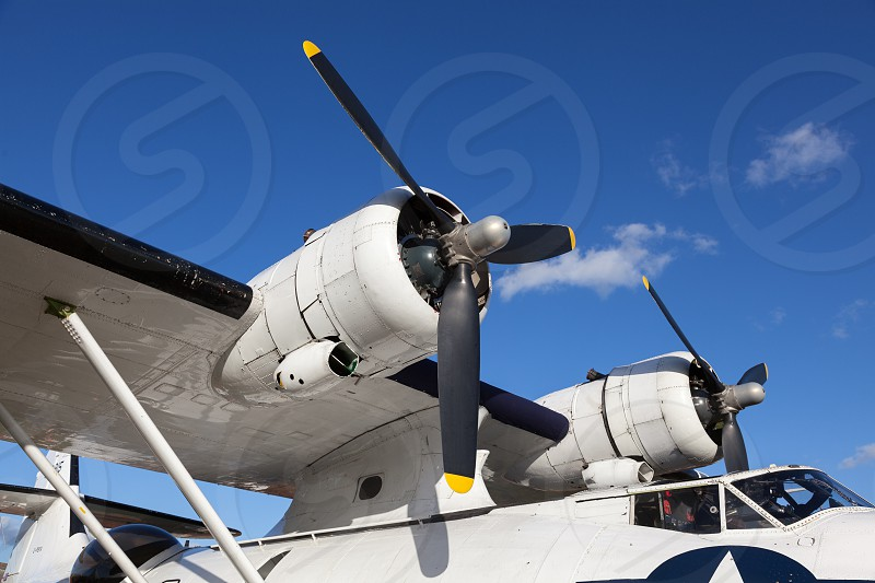 GOODWOOD WEST SUSSEX/UK - SEPTEMBER 14 : Close-up of a Catalina Flying Boat at the Goodwood Revival  on September 14 2012 photo