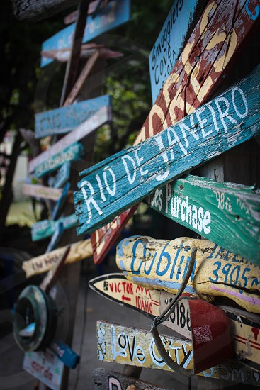 Travel signs on a beach Rio de Janeiro Dublin photo
