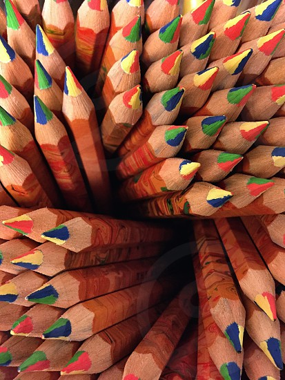 green blue red and yellow color pencils in macro lens photography photo