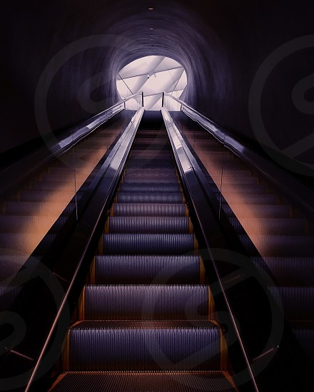 grey and yellow escalator near white ceiling photo