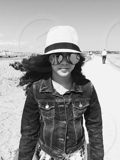 woman in black denim jacket photo