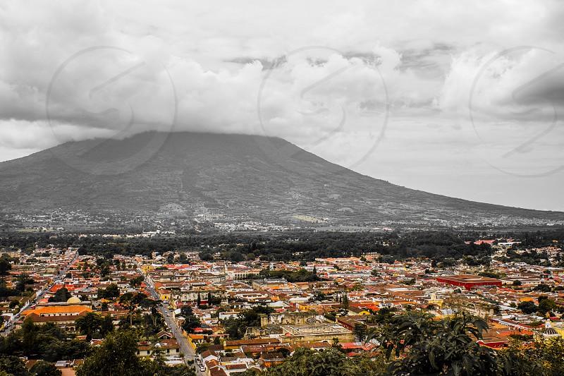 City volcano clouds orange yellow red  photo
