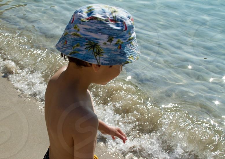 Beach fun boy play sea  photo