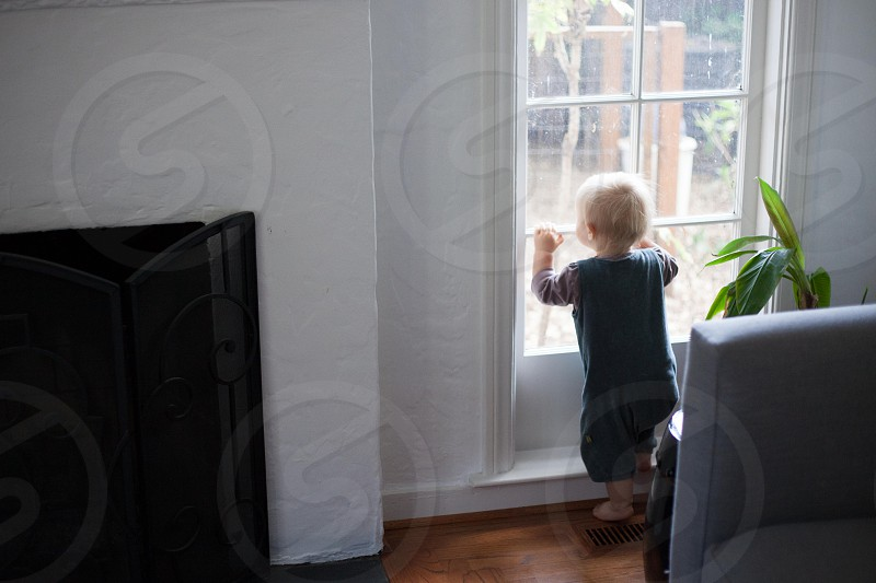 A toddler longingly looks out a window. photo