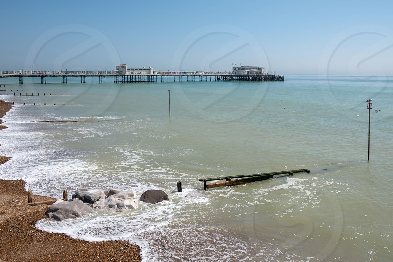 WORTHING WEST SUSSEX/UK - APRIL 20 : View of Worthing Pier in West Sussex on April 20 2018 photo