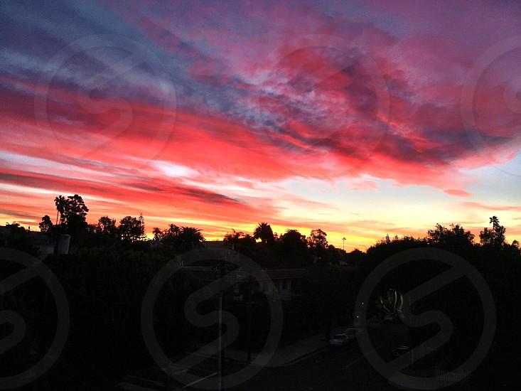 sunrise; fire; sky; California; beach  photo