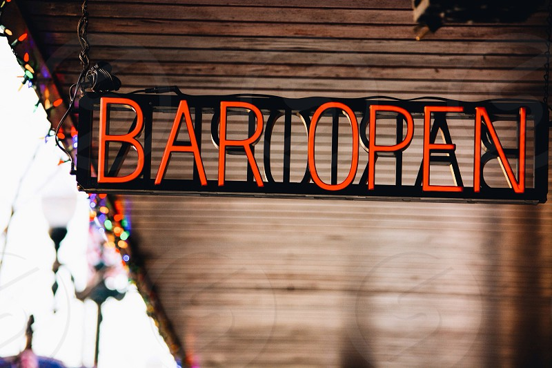 bar open store sign photo