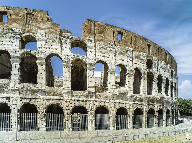 The Colosseum in Rome. Blue sky photo