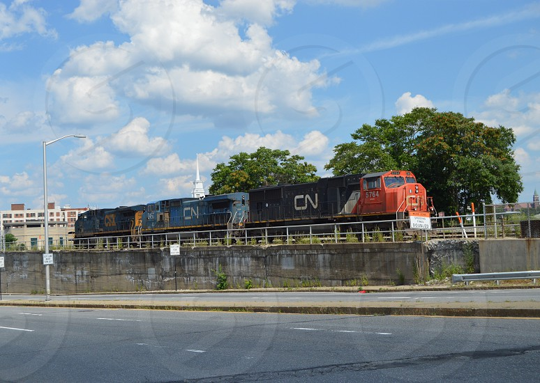 Canadian National Railroad locomotives in Worcester MA 7/12/14 photo