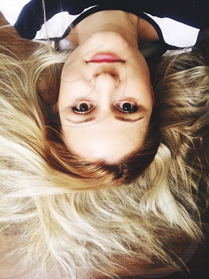Woman upside down blonde photo