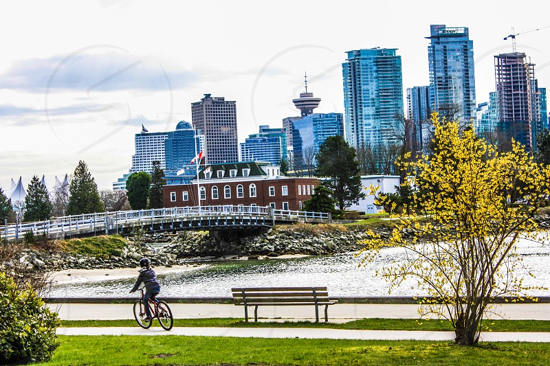 View of the Vancouver skyline from Stanley Park photo