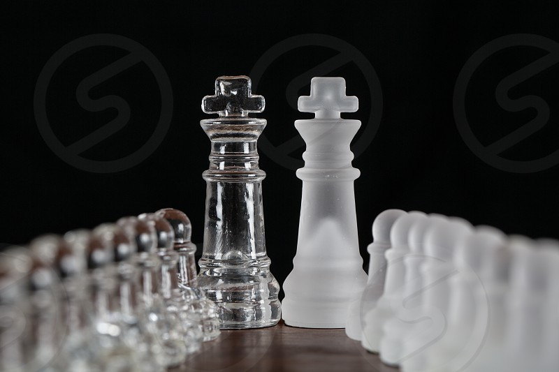 clear and white transparent chess pieces photo