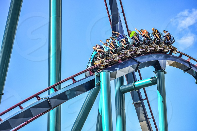 Orlando Florida. December 26 2018. This roller coaster is known for high speeds deep dives and thrills around every turn at Seaworld in International Drive area (7) photo