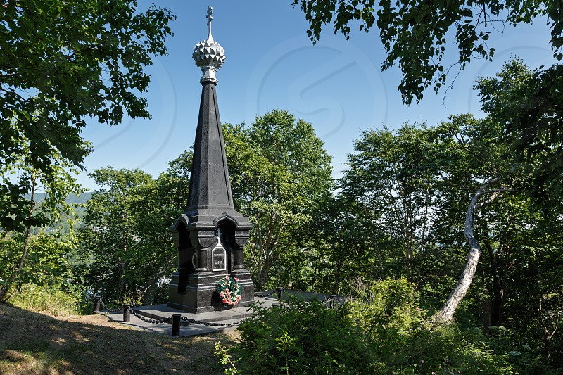 "Historical Monument Federal Level Object of Cultural Heritage ""Glory Monument commemorates successful defense of Petropavlovsk against attack of Anglo-French squadron in 1854"". Established in 1881 photo"