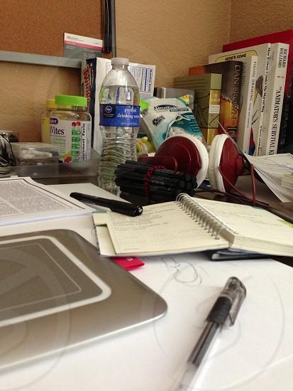 Messy desk photo