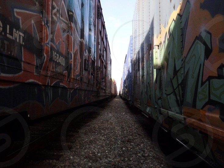 two trains side by side with colorful graffiti photo