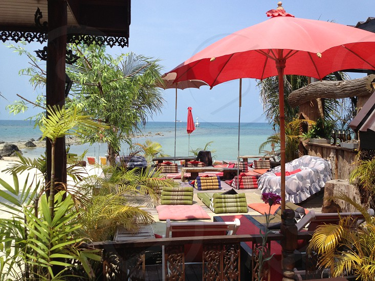 Tropical beach resort relax holiday vacation Thailand island yoga red photo