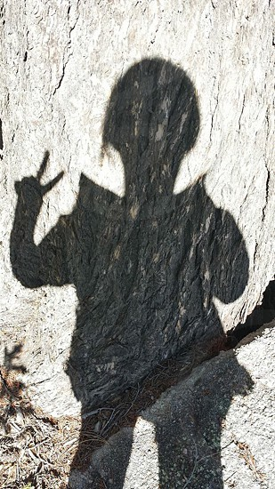 person shadow on white rock photo