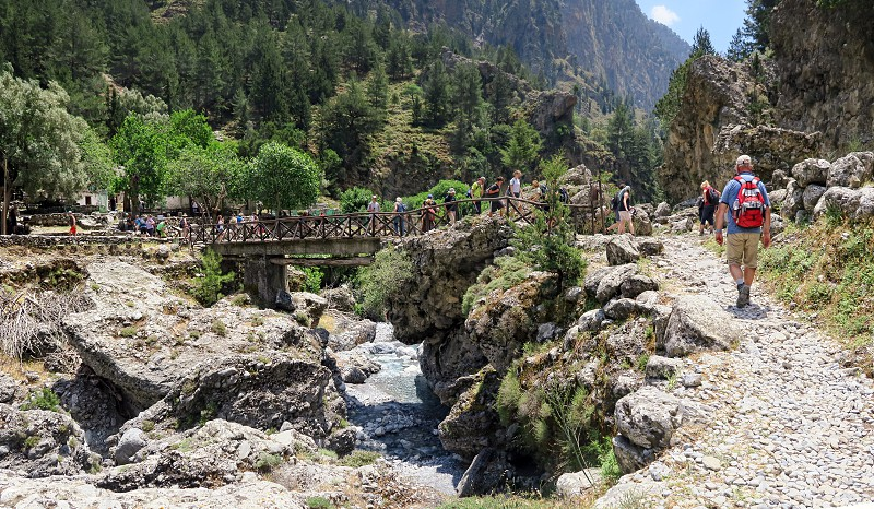 People hiking in the Samaria gorge in Crete / Greece. photo