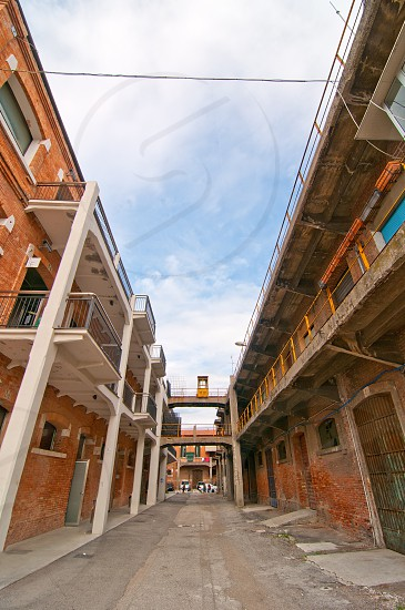 Venice Italy old  port industrial building now used by university photo