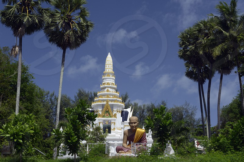 a thai Tempel at the village of Hat Kata Yai in the south on the Phuket Island in the south of Thailand in Southeastasia. photo