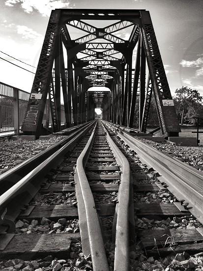 black metal train tracks photo