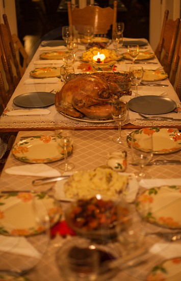 thank giving dish on white wooden table photo