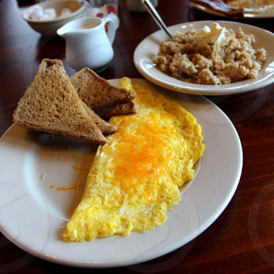 Breakfast including wheat toast cheese omelet and oatmeal (example from Mather Lodge at Petit Jean State Park Morrilton AR) photo