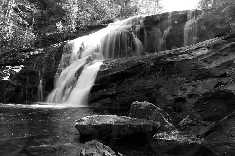water fall gray stone photo