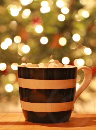 mini marshmallows in black white stripe ceramic mug by illuminated christmas tree photo