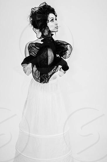 woman wearing black and white lace long dress photo