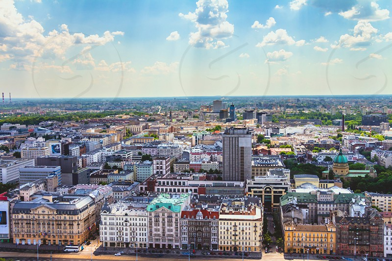 Aerial view of the Warsaw skyline buildings. photo