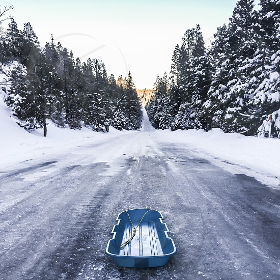 Winter snow sled sledding adventure live life youth never grow up explore mountains Tahoe donner  photo