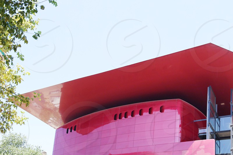 Modern architecture  red roof  architectural design modern design spain  Madrid  Reina Sofia  photo