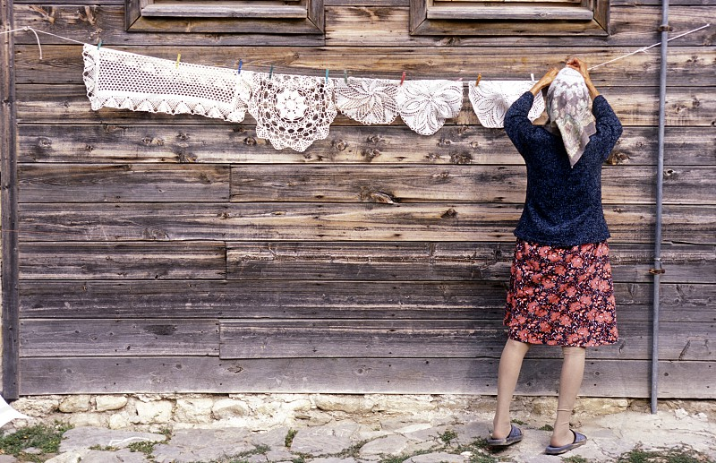 a women in the old town of  Nesebar on the coast of the Black sea in Bulgaria in east Europe. photo