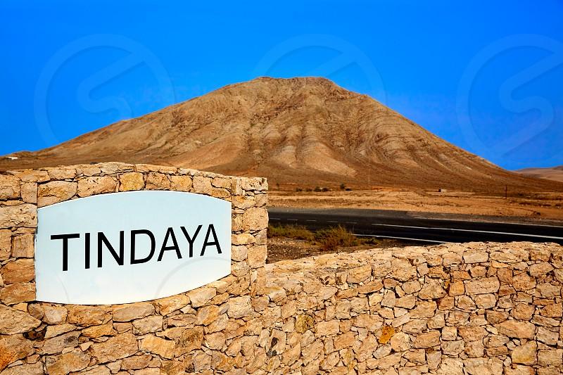 Tindaya mountain Fuerteventura at Canary Islands of Spain photo