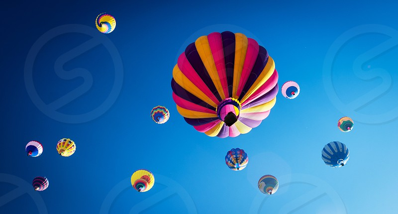 pink purple and yellow stripe hot air balloon photo