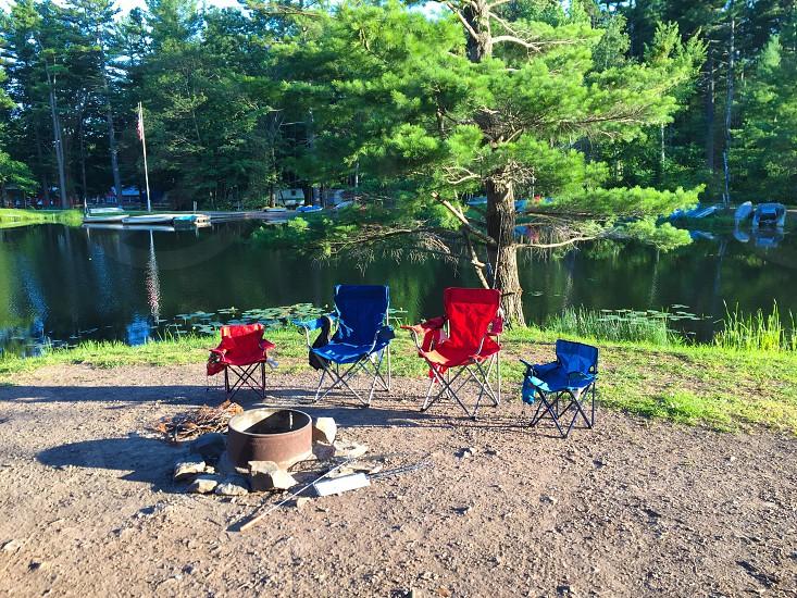 Camping fishing outdoors photo