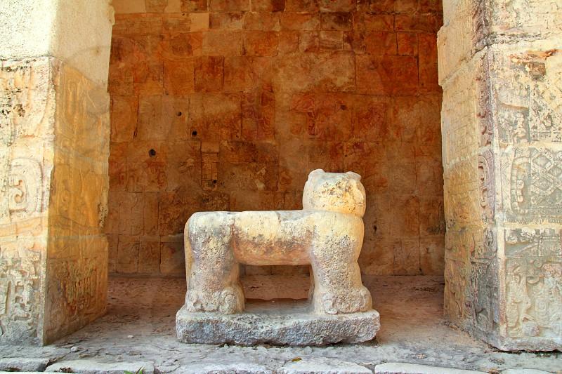 Chichen Itza Jaguar throne Mayan temple figure Mexico Yucatan photo
