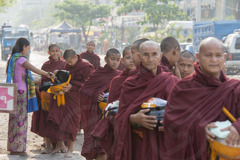 monks in the City of Mandalay in Myanmar in Southeastasia. photo