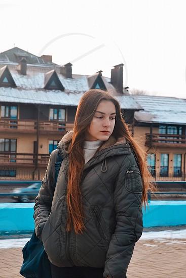 Girl Russia autumn city  photo
