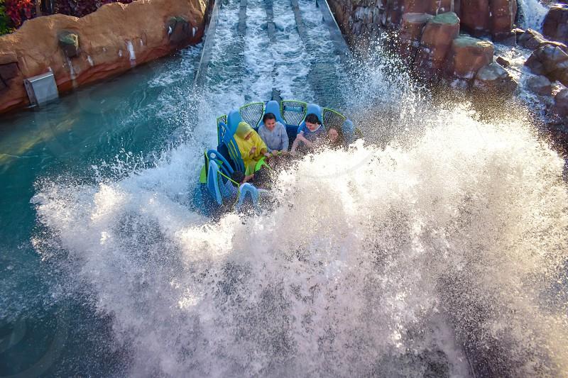 Orlando Florida. January 19 2019. People having fun river attraction ride Infinity Falls at Seaworld Marine Theme Park (5) photo