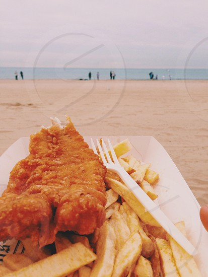 Seaside . Bournemouth . Fish and chips . Sea . Beach . People  photo