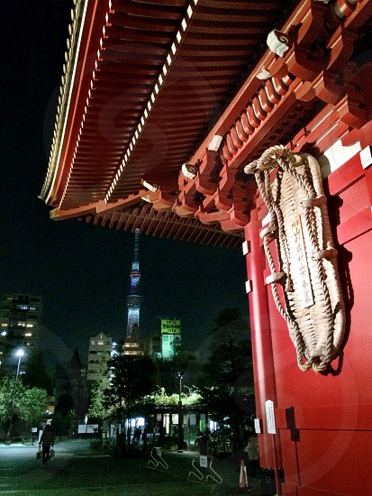 Sensoji in the front and Tokyo Sky Tree in the background photo