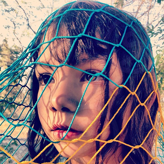 girl wearing knitted net photo