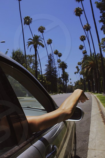 Arm out of car window photo
