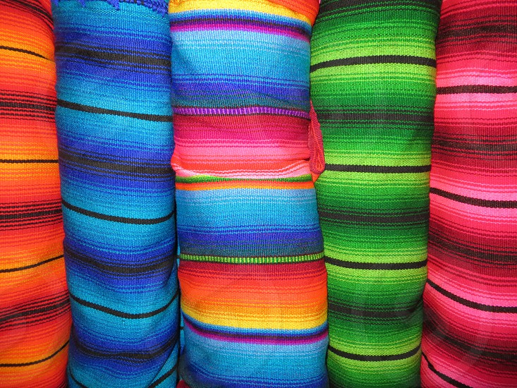 Handwoven blankets. Antigua Guatemala. photo