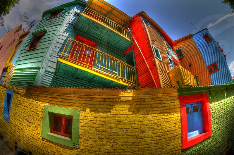 Colorful buildings in the La Boca neighborhood of Buenos Aires Argentina. photo