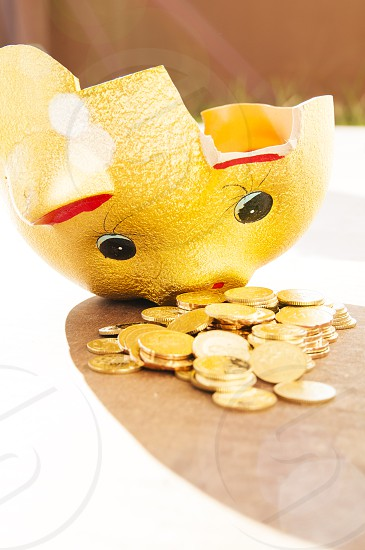 Closeup of broken piggy bank with gold coins spilling out photo
