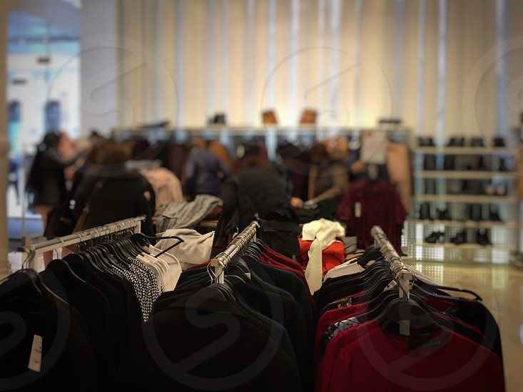 Shopping store people sales indoor clothes  photo